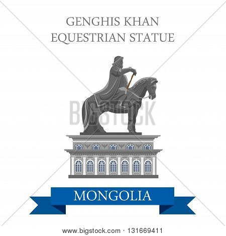 Genghis Khan Equestrian Statue Mongolia vector flat attraction