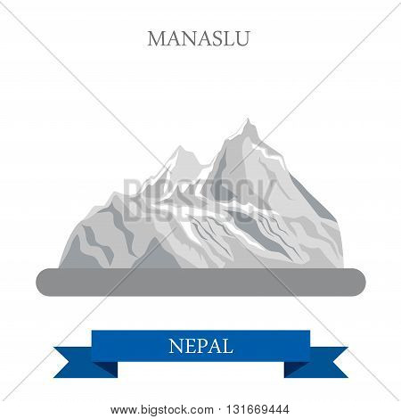 Manaslu Mountain Nepal vector flat attraction travel landmarks