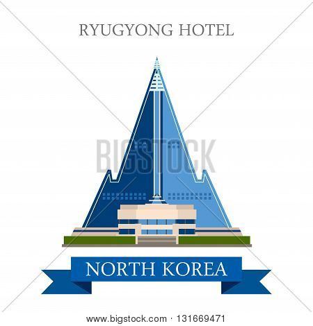 Ryugyong Hotel Pyongyang North Korea vector flat attraction