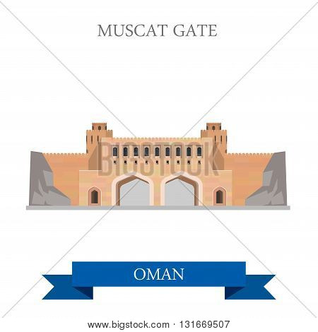 Muscat Gate Oman vector flat attraction travel landmark
