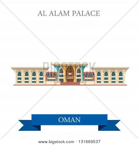 Al Alam Palace in Muscat Oman vector flat attraction travel