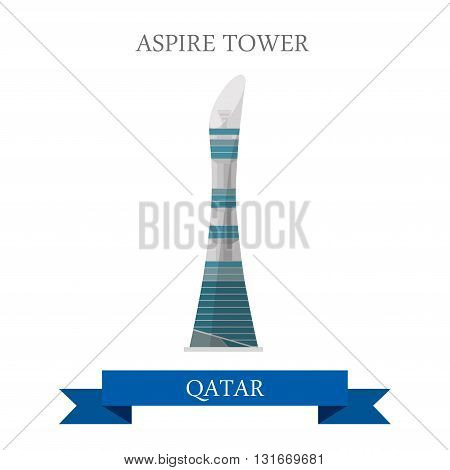 Aspire Tower Qatar vector flat attraction travel landmark