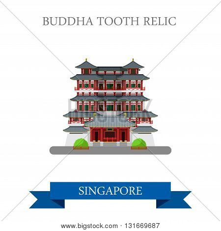 Buddha Tooth Relic Singapore vector flat attraction travel