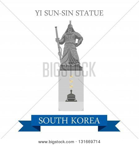 Yi Sun-Sin Statue South Korea landmarks vector flat attraction