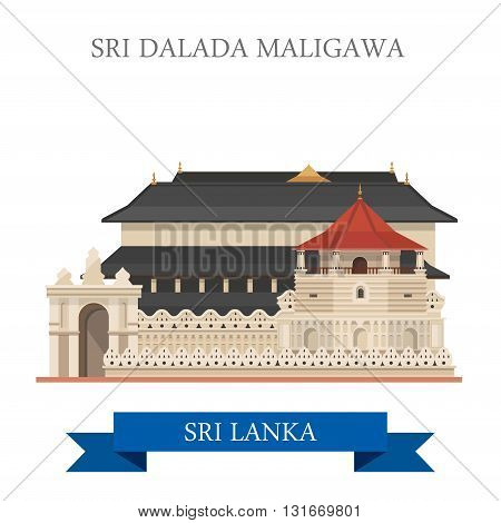 Sri Dalada Maligawa Sri Lanka landmarks vector flat attraction