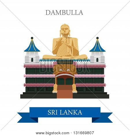 Dambulla South Korea landmarks vector flat attraction travel