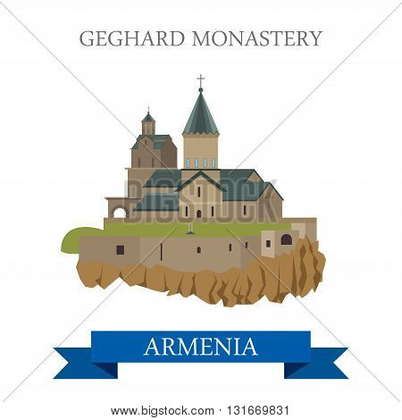 Geghard Monastery in Armenia landmarks vector flat attraction