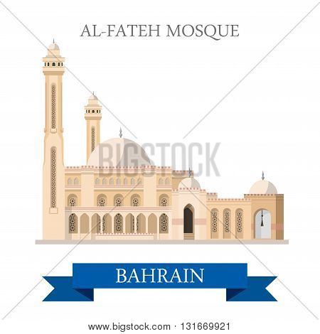 Al-Fateh Mosque Bahrain landmarks vector attraction travel