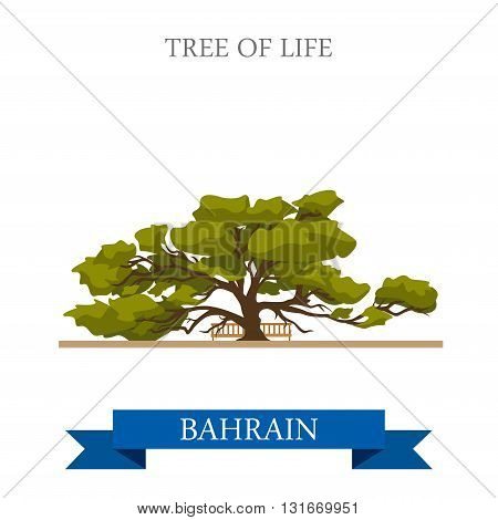 Tree of Life in Bahrein landmarks vector flat attraction travel