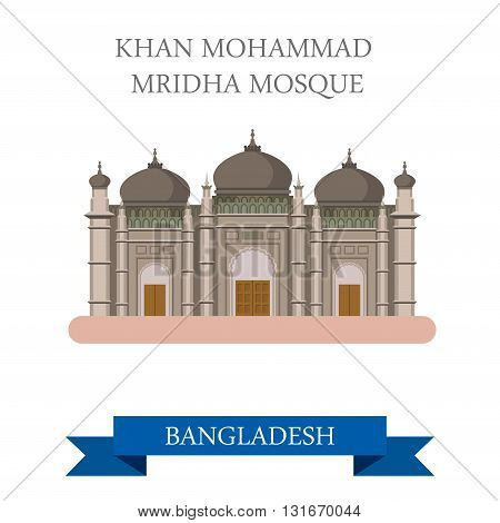 Khan Mohammad Mridha Mosque Bangladesh vector flat attraction