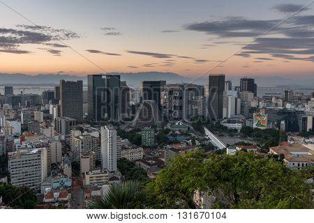 Financial center of Rio de Janeiro city by sunset, Brazil