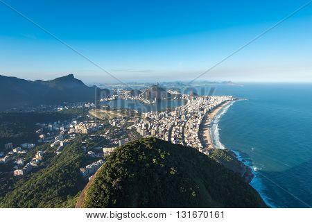 Rio de Janeiro Aerial View Overlooking Ipanema Beach, Rodrigo de Freitas Lagoon and Corcovado