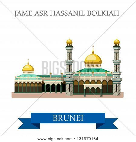Jame Asr Hassanil Bolkiah mosque Brunei vector flat attraction