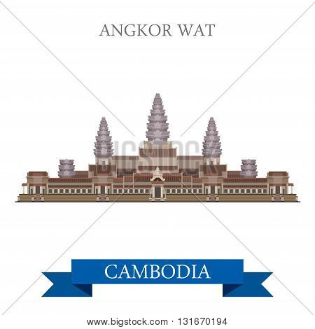 Angkor Wat temple complex Cambodiaflat vector attraction travel