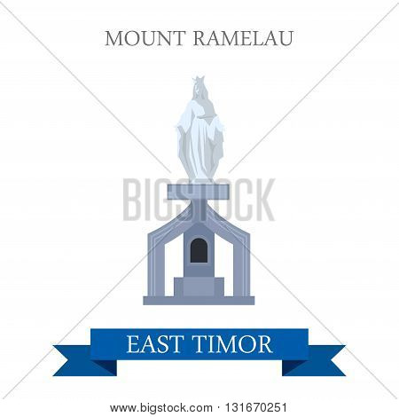 Mount Ramelau aka Tatamailau East Timor vector flat attraction