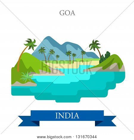 Goa in India vector flat attraction landmarks