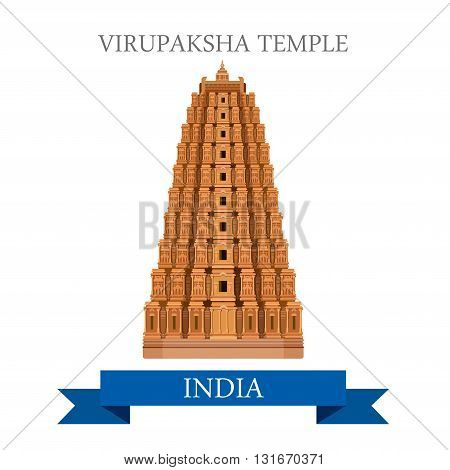 Virupaksha Shiva Temple India vector flat attraction landmarks