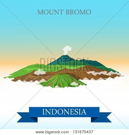 Mount Bromo in Indonesia vector flat attraction