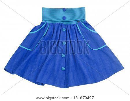 blue skirt isolated on white