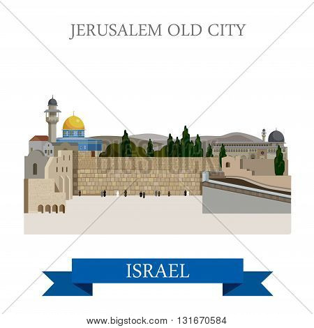 Jerusalem Old City in Israel vector flat attraction landmarks