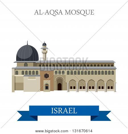 Al-Aqsa Mosque Israel vector flat attraction landmarks