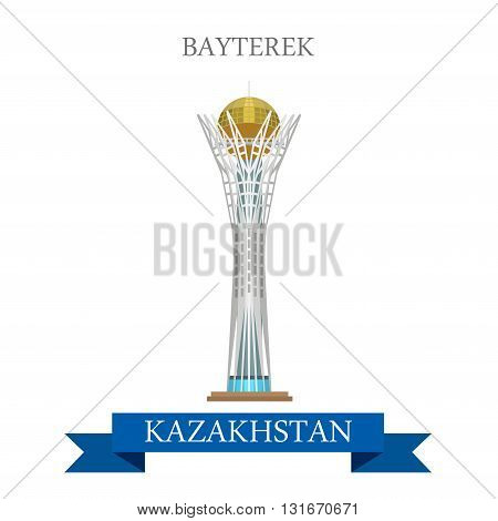 Bayterek in Astana Kazakhstan vector flat attraction landmarks