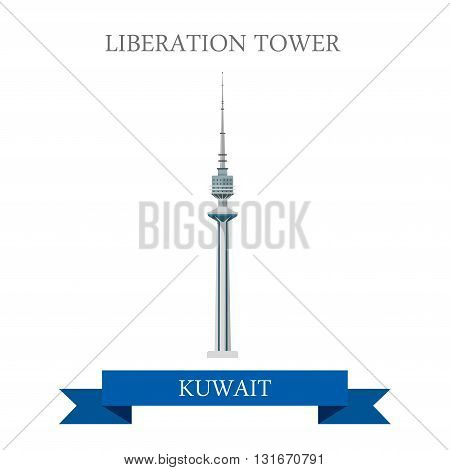 Liberation Tower in Kuwait vector flat attraction landmarks