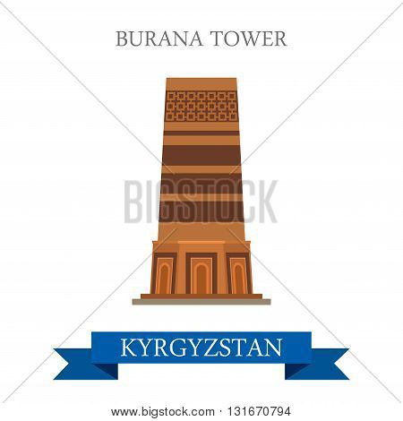Burana Tower in Kyrgystan vector flat attraction landmarks