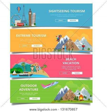 Travel tourism type banner flat style vector set