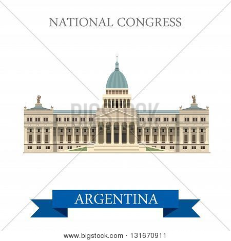 National Congress Buenos Aires Argentina vector flat attraction