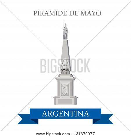 Piramide de Mayo Buenos Aires Argentina vector flat attraction