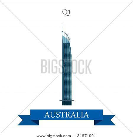 Q1 tower Gold Coast Queensland Australia vector flat attraction