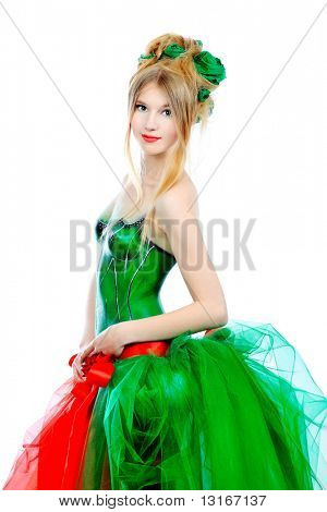 Portrait of a fashionable spring woman. Body painting project.