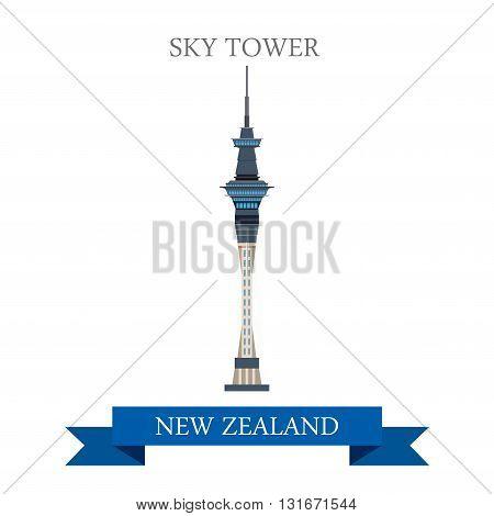 Sky Tower Auckland New Zealand vector flat attraction landmarks