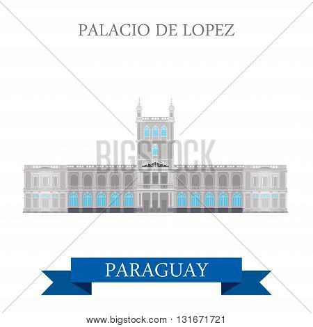 Palacio De Lopez in Asuncion Paraguay vector flat attraction