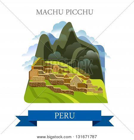 Machu Picchu in Peru vector flat attraction landmarks