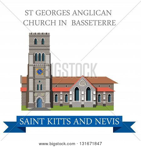 St George Anglican Church Basseterre Saint Kitts Nevis vector