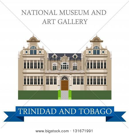 National Museum and Art Gallery Trinidad Tobago vector flat
