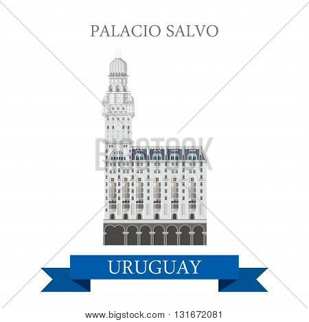 Palacio Salvo in Montevideo, Uruguay vector flat attraction