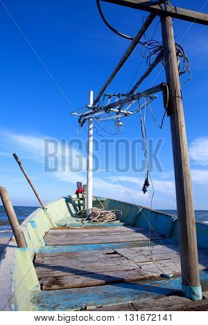 Small fishing boat. Thailand's fishermen. Lifestyle occupation fisherman.
