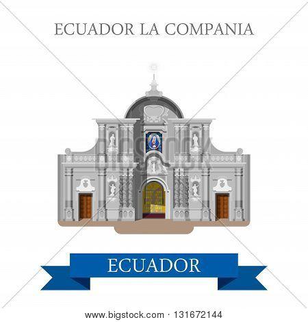 Ecuador La Compania vector flat attraction landmarks