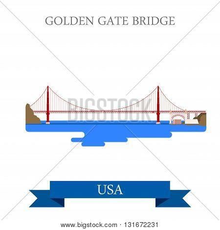Golden Gate Bridge San Francisco United States USA vector flat