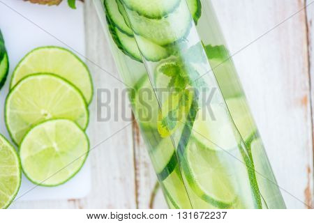 Detox Infused Water With Cucumber, Lime And Mint In Bottle