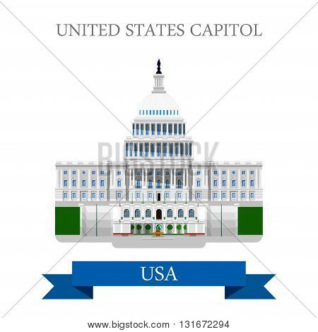 United States Capitol Congress in Washington DC USA vector flat