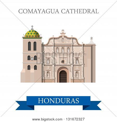 Comayagua Cathedral in Honduras vector flat attraction landmarks