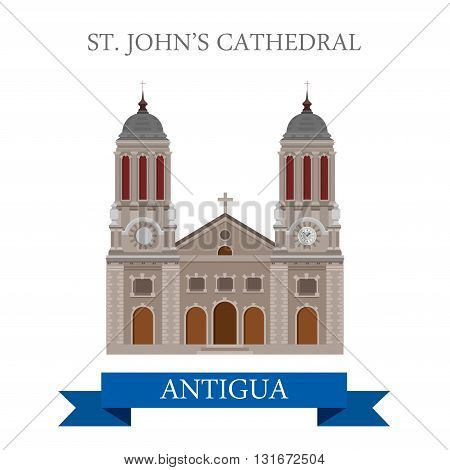 St John Cathedral in Antigua vector flat attraction landmarks