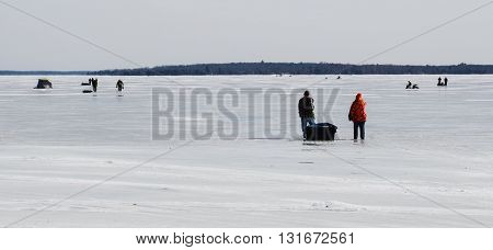 Ice Fishing On Higgins Lake