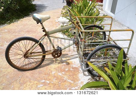 A there wheeled bike in Mexico with huge front basket to carry and deliver goods.