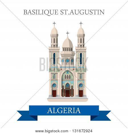 Basilique St Augustin in Algeria vector flat attraction landmark
