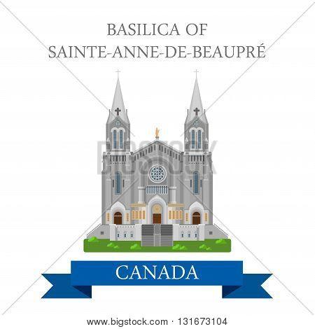 Basilica Sainte-Anne-De-Beaupre Quebec Canada vector attraction